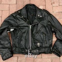 1980s Ratty Boys Vintage Black Leather Studded Punk Rock Band Biker Jacket