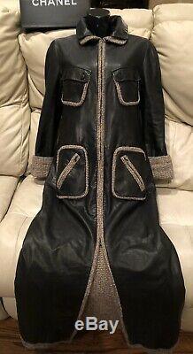 19k CHANEL 03A Leather MAXI TWEED 36 38 40 4 6 8 Black Coat Top Jacket dress M