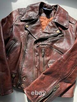 $395 Polo Ralph Lauren BOYS Cowhide Leather Motorcycle Size M (8-10) Brown