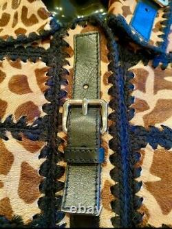 $4,980 PRADA Leopard CALF HAIR FUR Jacket 40 42 44 4 6 8 Leather Coat Top S M L