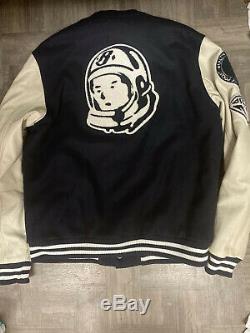 $650 Billionaire Boys Club BBC Blue Beige Leather Letterman Varsity Jacket Xl