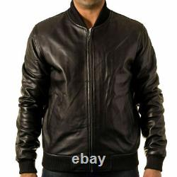 80s Style Black Real Leather Baseball Varsity Fitted Casual Bomber Jacket