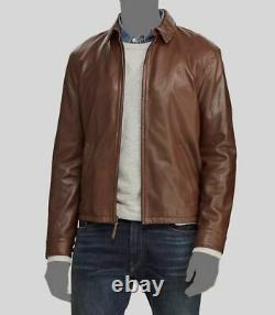$849 Polo Ralph Lauren Men's Brown Leather Motorcycle Coat Jacket Size S