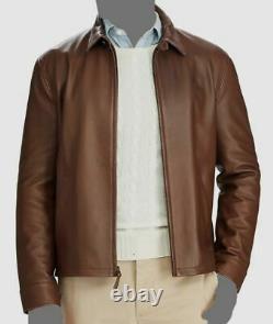 $905 Polo Ralph Lauren Men Brown Leather Pony Logo Motorcycle Coat Jacket Size S
