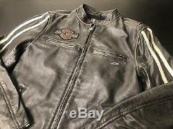 97048-19vm Harley-davidson Men's Sleeve Stripe Leather Jacket Brown New