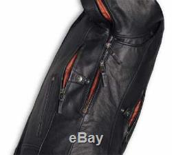 98000-20em Harley-davidson Men's Vanocker Waterproof Leather Jacket New