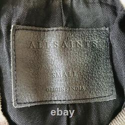 ALL SAINTS Elter Soft Black Leather Bomber Jacket ML050E As DJ Calvin Harris S