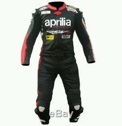 APRILIA Mens Biker Leather Suit Motorbike/Motorcycle Leather Jacket Pant