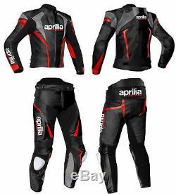 APRILIA Racing Biker Leather Suit MOTO Motorbike/Motorcycle Leather Jacket Pant