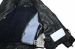 AUTH $850 Burberry Children Boy Italy Made Black Leather Jacket 4Y