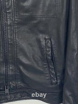 All Saints Lark Leather Jacket Mens Medium Black RRP £329