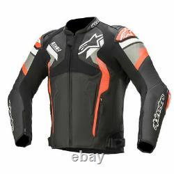 Alpinestars Atem V4 Motorcycle Leather Jacket Black / Grey / Red Fluo