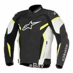 Alpinestars GP Plus R V2 Motorcycle Leather Jacket Black / White / Yellow