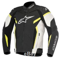 Alpinestars GP Plus V2 Motorcycle Leather Sports Jacket Black / White / Fluo