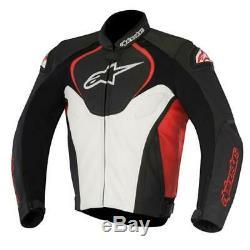 Alpinestars Jaws Motorcycle Motorbike Leather Jacket Black / White / Red NEW