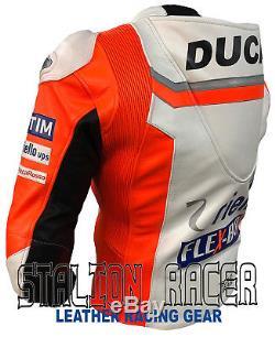 Andrea Dovizioso Ducati FleX-Box Motorbike Racing Cowhide Leather Jacket
