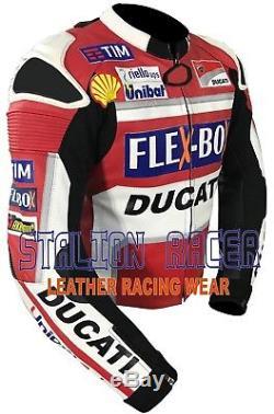 Andrea Dovizioso Ducati Unipolsai FleXBox Motorbike Cowhide Leather Jacket