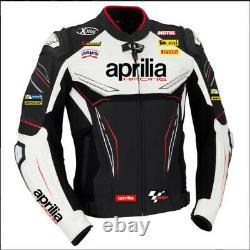 Aprilia Motorcycle Jackets Cowhide Leather Motorbike Racing Biker Sports Adults