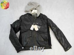 Armani Boys Hooded Leather Jacket