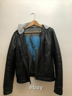 Armani Junior Original Italian Black Zipped Hooded Jacket 16Y