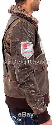 Aviatrix Mens Boys US Pilot Flying Antique Leather Jacket Bomber Air Force Wills