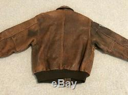 Avirex Brown Leather Flight Bomber Jacket Aviator Type A-2 A2 Patches Vintage