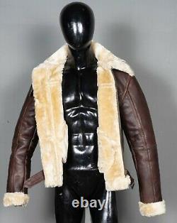 B3 RAF Aviator Pilot Sheepskin Bomber Flying Fur Shearling Brown Leather Jacket