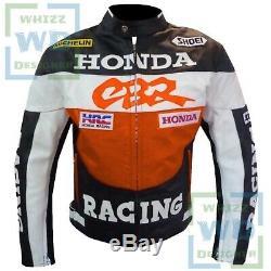 BEST MOTORCYCLE JACKET. Orange Honda CBR Motorbike Leather Armour Riding Gear