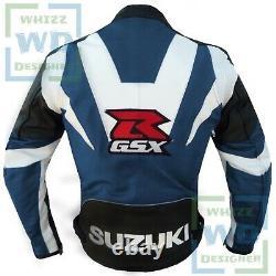 BIKER APPAREL. Suzuki GSXR Navy Blue Leather Motorcycle Coat Biker Armor Jacket