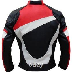 BLACK/RED, WHITE LINING-Motorbike/Motorcycle RACING Leather Jacket Biker-MotoGp