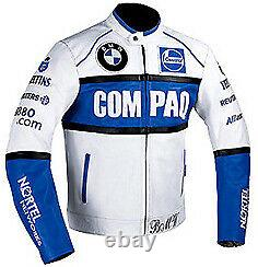 BMW COMPAQ Racing Biker Leather Jacket Mens Motorcycle/Motorbike Leather Jackets