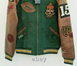 BNWT Polo RALPH LAUREN old boys SMALL Leather sleeve Varsity P Letterman Jacket