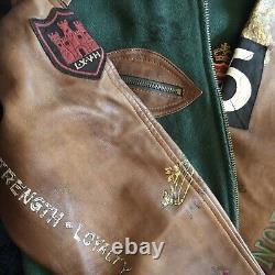 BNWT Polo Ralph Lauren Green Leather Sleeves Varsity Old Boys Crew Jacket Wool M