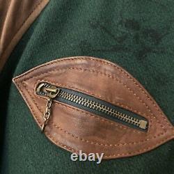 BNWT Polo Ralph Lauren M Green Leather Sleeves Varsity Old Boys Crew Jacket Wool