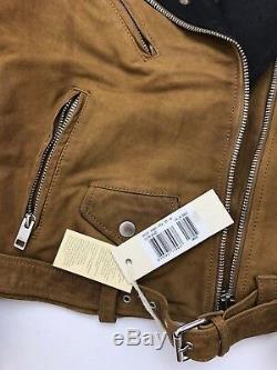 BNWT Unisex DIESEL Brown Leather Studded Biker Jacket, Sz 10 Years