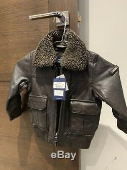 BRAND NEW HACKETT LONDON BOYS BROWN LEATHER JACKET SIZE 2 Years NEW WITH TAGs