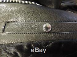 BURBERRY London Black Grain Leather Jacket BOYES Motorcycle Bomber 48R 58 XL