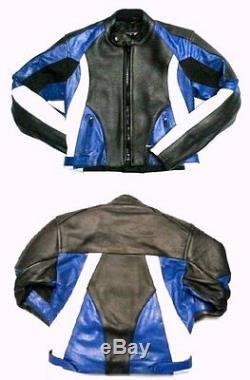 Baby Biker Kids Demon Sport Leather Childs Motorcycle Motorbike Jacket Blue T