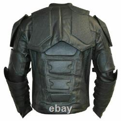 Batman New Motorbike Original Cowhide Leather Jacket With CE Armour Protection