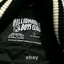 Billionaire Boys Club BBC Black Leather Sleeve Bomber Coat Jacket