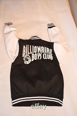 Billionaire Boys Club BBC Black White Leather Sleeve Bomber Coat Jacket Medium M