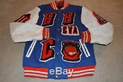 Billionaire Boys Club BBC Blue White Leather Sleeve Bomber Coat Jacket Medium M