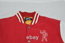 Billionaire Boys Club BBC Red White Leather Sleeve Bomber Coat Jacket Mens XL