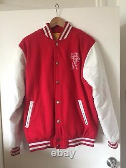 Billionaire Boys Club BBC Red with White Leather Sleeve Varsity Jacket Mens M