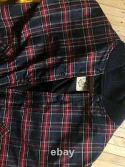 Billionaire Boys Club Bee Line Leather Plaid Varsity Jacket Medium Rare
