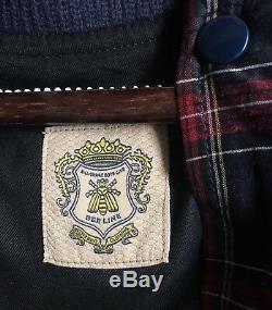 Billionaire Boys Club Bee Line Leather Plaid Varsity Jacket Size Medium Rare