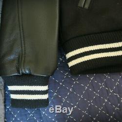 Billionaire Boys Club Varsity Leather Jacket Black Wool Sleeves M Medium coat