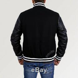 Billionaire Boys Club Varsity Letterman BBC Letter B Leather Sleeves Jacket
