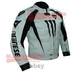 Black And White Motogp Motorbike Jacket Motorcycle Cowhide Leather Armour Jacket