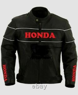 Black Honda Motorcycle Racing Motor Bike Leather Jacket, CE Approved Padding